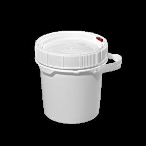 3.5 Gallon White HDPE Plastic Screw-Top Pail w/Plastic Handle